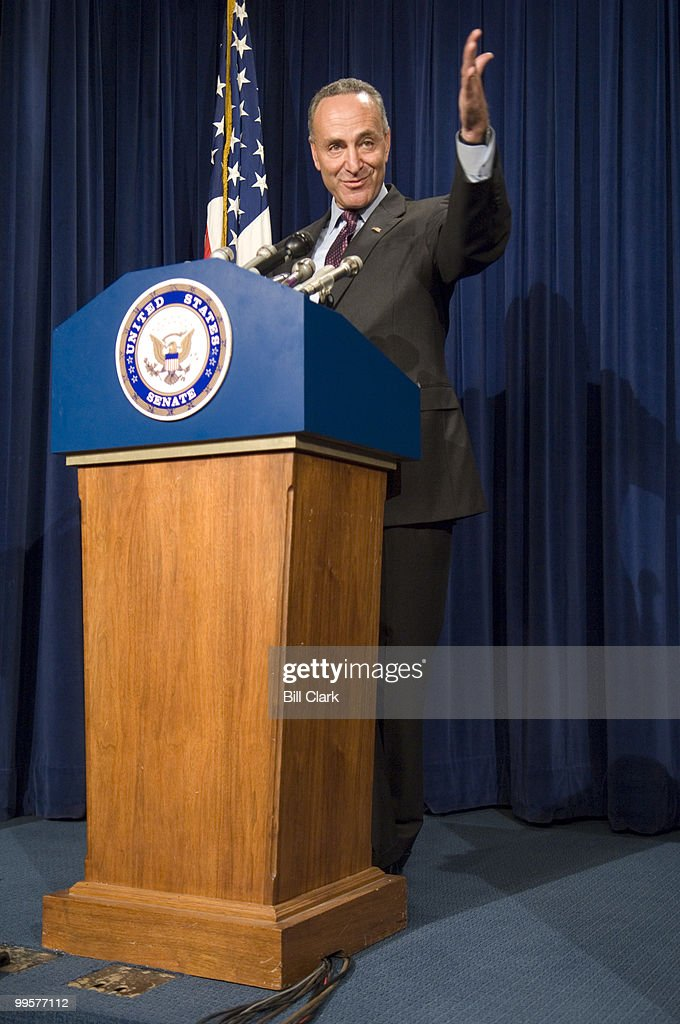Sen. Charles Schumer, D-N.Y., holds a news conference on the nomination of retired federal judge Michael Mukasey as the new Attorney General on Monday, Sept. 17, 2007.