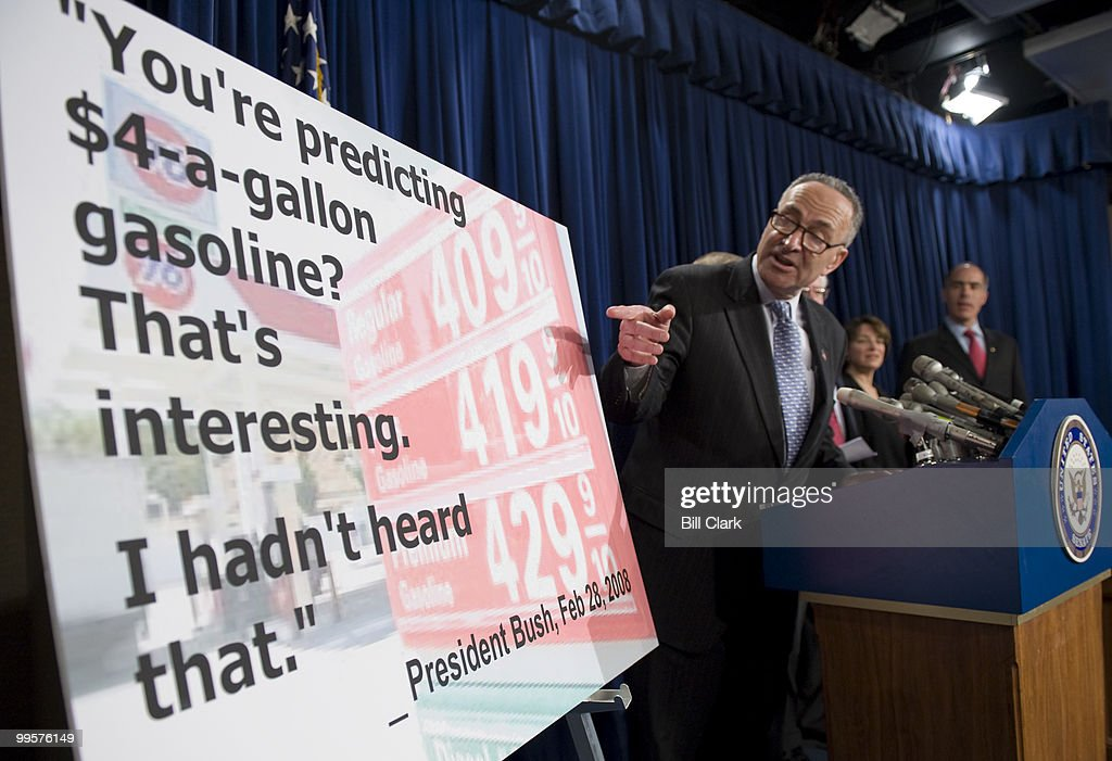 Sen. Charles Schumer, D-N.Y., participates in a news conference in the Senate Radio/TV Gallery studio on OPEC oil production on Thursday, April 24, 2008.