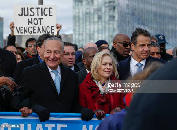 Sen. Charles Schumer, Sen. Kirsten Gillibrand and New York Governor Andrew Cuomo attend protests in support of the Jewish community called No Hate No...