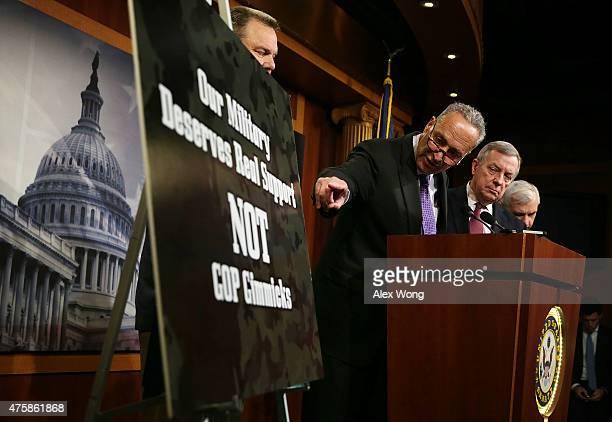 S Sen Charles Schumer Senate Minority Whip Sen Richard Durbin Sen Jack Reed and Sen Jon Tester participate in a news conference June 4 2015 on...