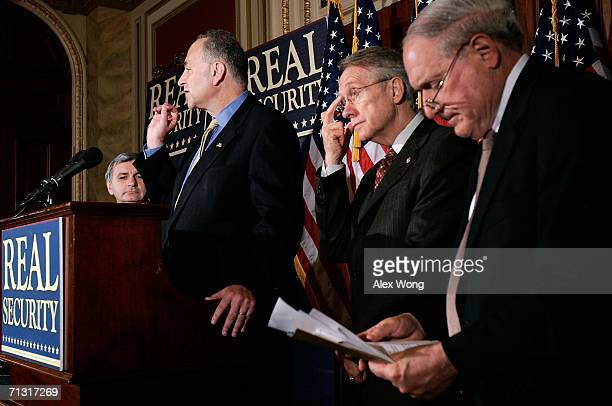 S Sen Charles Schumer speaks as US Sen Harry Reid US Sen Carl Levin and US Sen Jack Reed listen during a news conference about the Iraq war June 28...