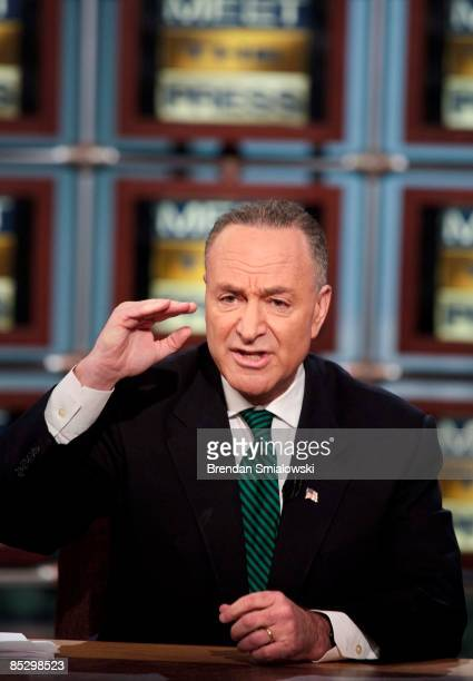 Sen Charles Schumer speaks during a live taping of Meet the Press at NBC studios March 8 2009 in Washington DC Sen Lindsey Graham Sen Chuck Schumer...
