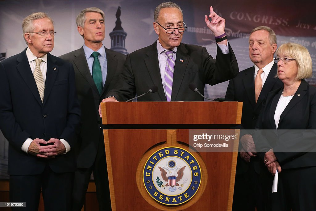 Sen. Charles Schumer (D-NY) (C) speaks during a news conference to announce they will fast-track new legislation to prevent for-profit employers from refusing to cover health benefits for religious reasons with (L-R) Senate Majority Leader Harry Reid (D-NV), Sen. Mark Udall (D-CO), Senate Majority Whip Richard Durbin (D-IL) and Sen. Patty Murray (D-WA) at the U.S. Capitol July 10, 2014 in Washington, DC. Co-authored by Udall and Murray, the legislation would override the Supreme Court's recent decision in the Hobby Lobby case and compel for-profit business to cover contraception for their employees, as required by the Affordable Care Act.