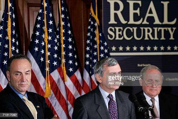 US Sen Charles Schumer US Sen Jack Reed and US Sen Carl Levin attend a news conference about the Iraq war June 28 2006 on Capitol Hill in Washington...