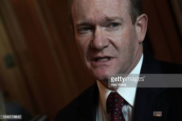 S Sen Chris Coons arrives at a weekly Senate Democratic policy luncheon September 25 2018 at the Capitol in Washington DC Senate Democrats held the...