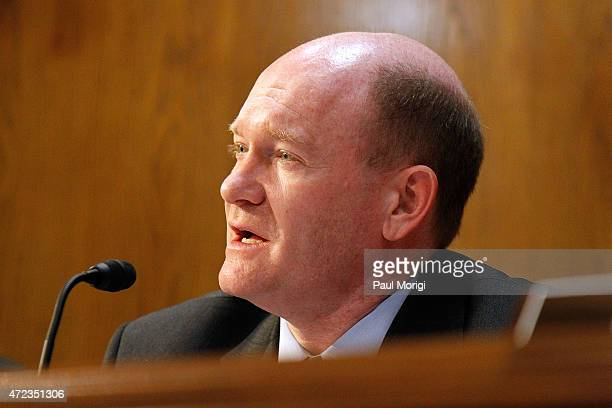 Sen Chris Coons speaks at a US Senate Appropriations State Foreign Operations and Related Programs Subcommittee hearing on Global Health Programs to...