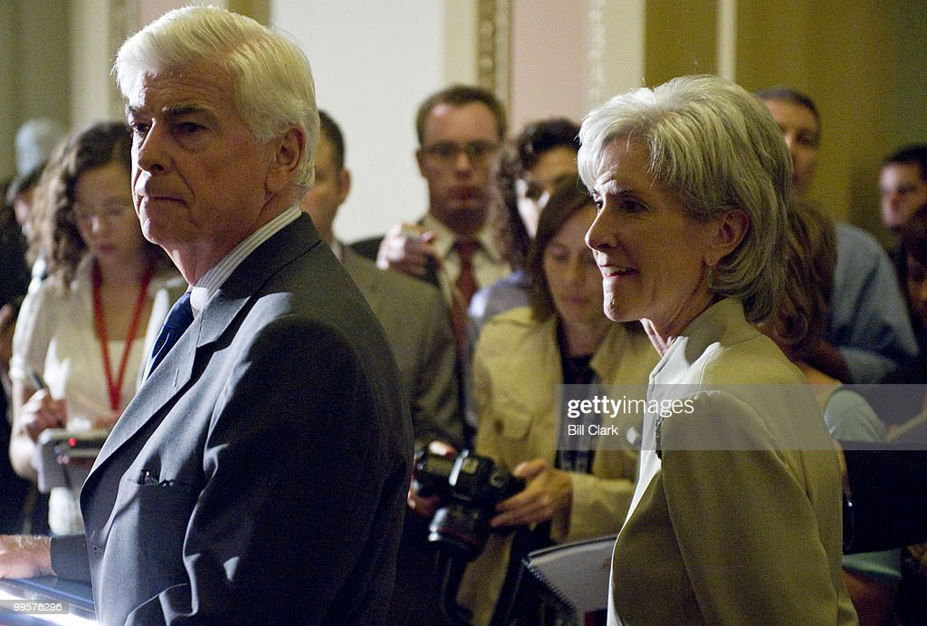 Sen. Chris Dodd, D-Conn., and HHS Secretary Kathleen Sebelius hold a news conference on healthcare reform in the Ohio Clock Corridor on Thursday, July 23, 2009.