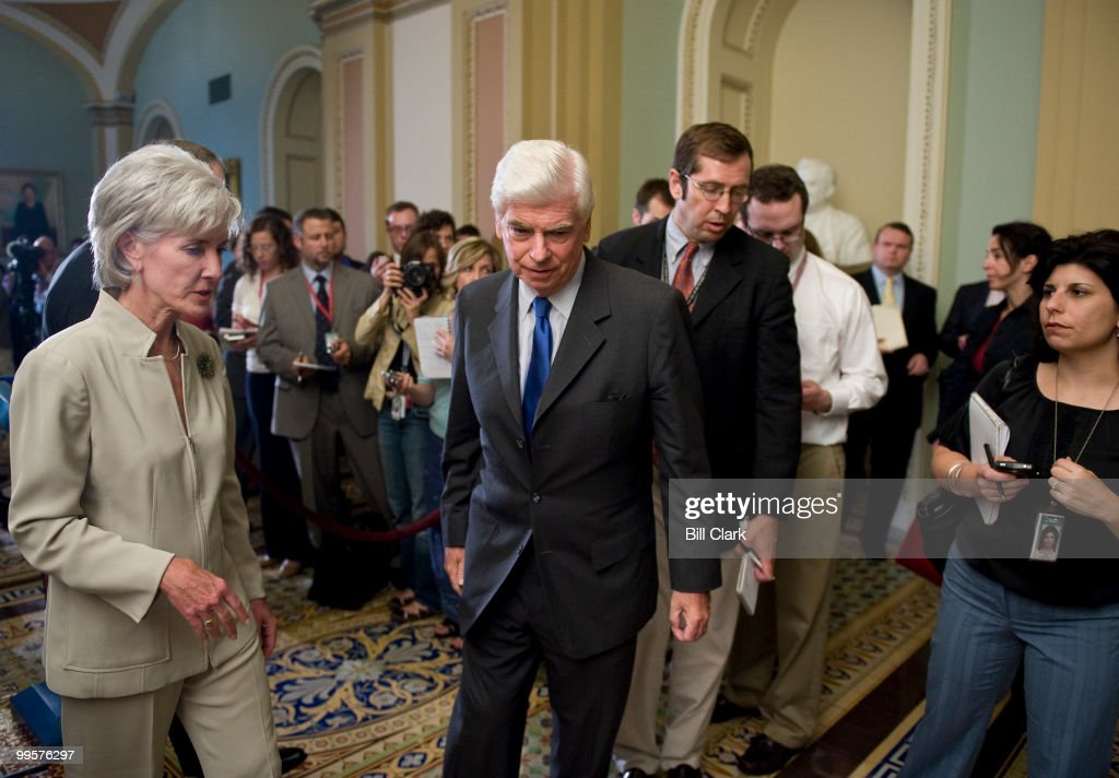 Sen. Chris Dodd, D-Conn., and HHS Secretary Kathleen Sebelius walk away from the microphones after holding a news conference on healthcare reform in the Ohio Clock Corridor on Thursday, July 23, 2009.