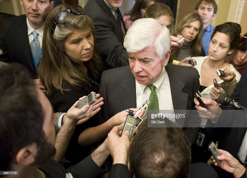Sen. Chris Dodd, D-Conn., speaks to reporters in the Ohio Clock Corridor following the Senate Democrats' lunch meeting on Oct. 15, 2009.