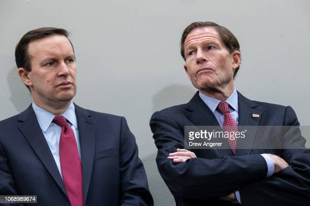 Sen Chris Murphy and Sen Richard Blumenthal attend a news conference to demand action for gun violence prevention December 6 2018 in Washington DC...