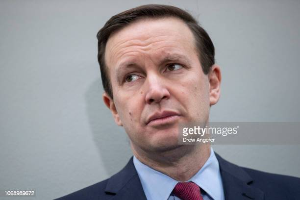 Sen Chris Murphy attends a news conference to demand action for gun violence prevention December 6 2018 in Washington DC Family members of victims...