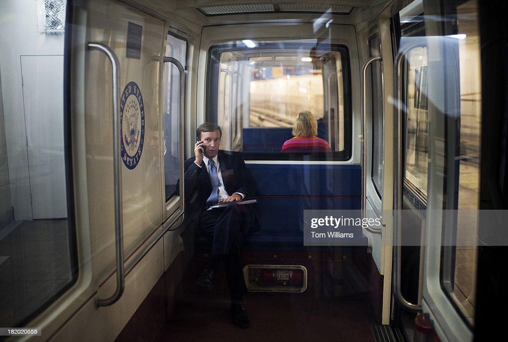 Sen. Chris Murphy, D-Conn., rides the Senate subway after ...