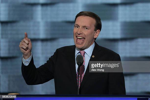 Sen Chris Murphy delivers remarks on the third day of the Democratic National Convention at the Wells Fargo Center July 27 2016 in Philadelphia...