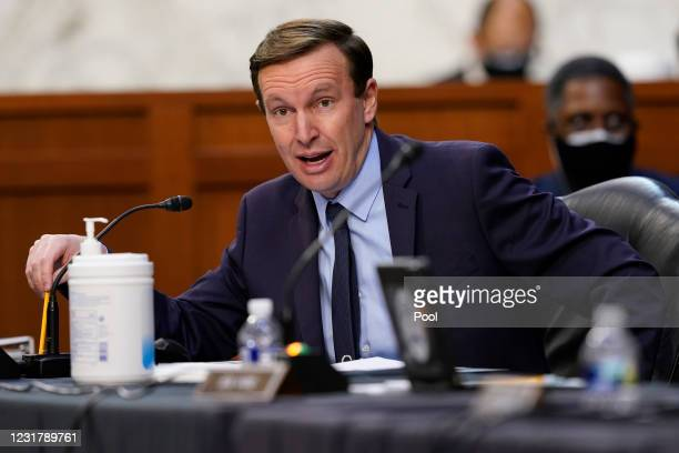 Sen. Chris Murphy speaks during a Senate Health, Education, Labor and Pensions Committee hearing on the federal coronavirus response on Capitol Hill...