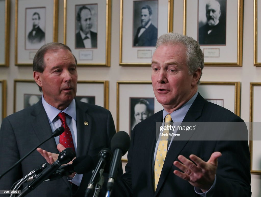 Sen. Chris Van Hollen (D-MD) (R) and Sen. Tom Udall (D-NM) speak to the media about EPA Administrator Scott Pruitt's FY2019 budget request after a Senate Appropriations Subcommittee hearing ended, on May 16, 2018 in Washington, DC. Pruitt was questioned about a number of scandals during his term as director.