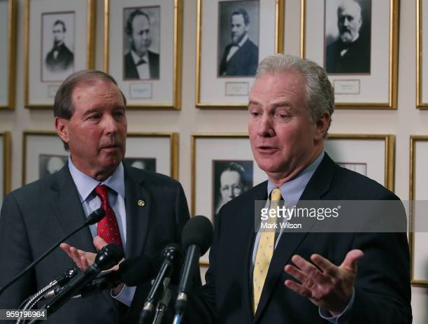 Sen Chris Van Hollen and Sen Tom Udall speak to the media about EPA Administrator Scott Pruitt's FY2019 budget request after a Senate Appropriations...