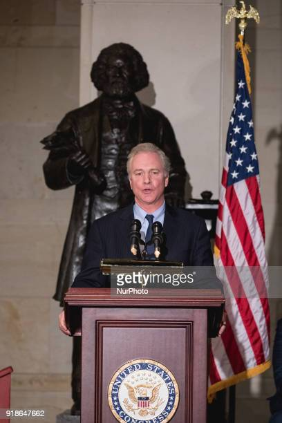 Sen Chris Van Hollen speaks at the Commemoration of the Bicentennial of the Birth of Frederick Douglass in Emancipation Hall of the US Capitol on...
