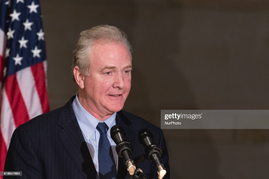 Sen. Chris Van Hollen, speaks at the Commemoration of the Bicentennial of the Birth of Frederick Douglass, in Emancipation Hall of the U.S. Capitol, on Wednesday, Feb. 14, 2018.