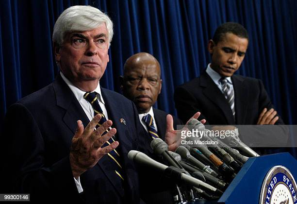 Sen Christopher Dodd DCt Rep John Lewis DGa and Sen Barack Obama DIll criticize former President Jimmy Carter and former Secretary of State James...
