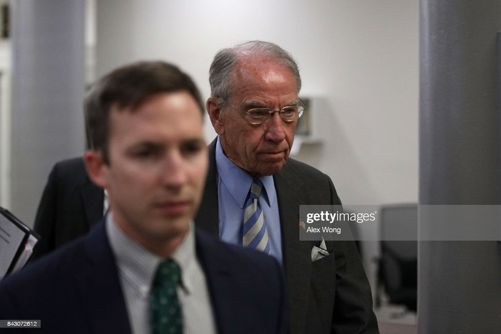 U.S. Sen. Chuck Grassley (R-IA) (R) arrives for a vote at the Capitol September 5, 2017 in Washington, DC. Congress is back from summer recess with a heavy legislative agenda in front of them.