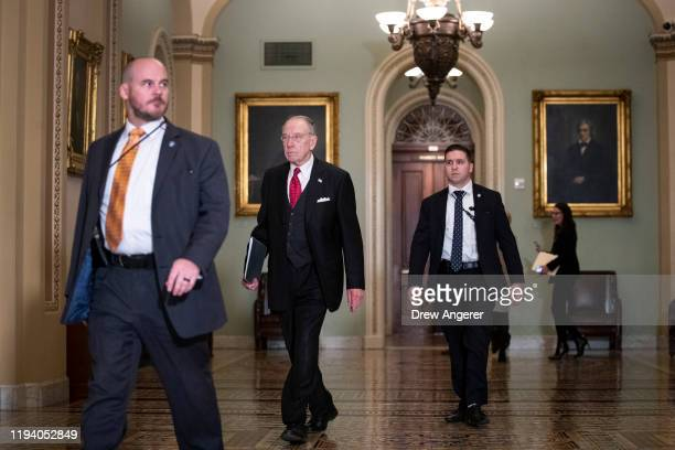Sen. Chuck Grassley arrives to the Senate chamber for impeachment proceedings at the U.S. Capitol on January 16, 2020 in Washington, DC. On Thursday,...