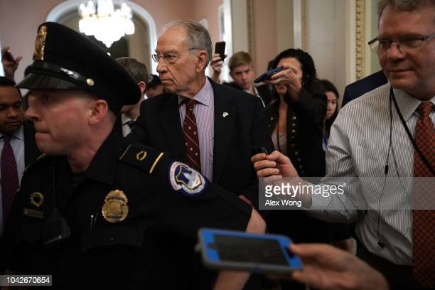 S Sen Chuck Grassley chairman of Senate Judiciary Committee leaves after a meeting in the office of Senate Majority Leader Sen Mitch McConnell...