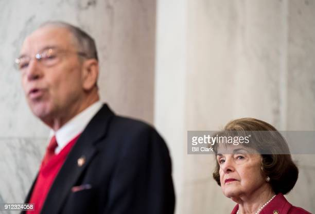 Sen Chuck Grassley RIowa and Sen Dianne Feinstein DCalif participate in the press conference on legislation to prevent future abuse of young athletes...
