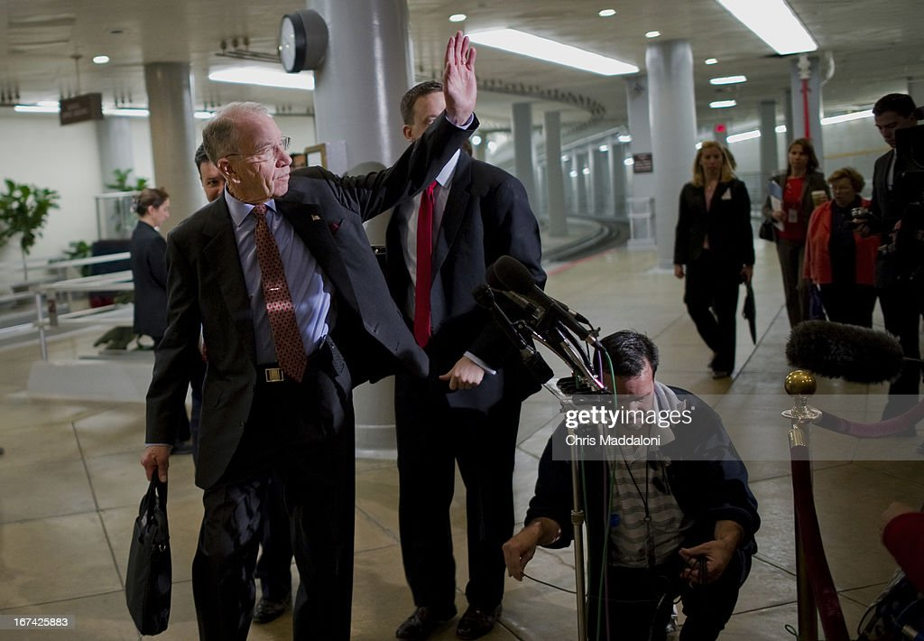 Sen. Chuck Grassley, R-Iowa, arrives for an all-Senators briefing on the ongoing investigation in the Boston Marathon bombings.