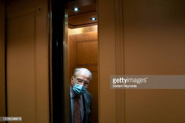 Sen. Chuck Grassley speaks to a reporter in the Senate subway at the U.S. Capitol on October 21, 2020 in Washington, DC. The White House is hoping to...