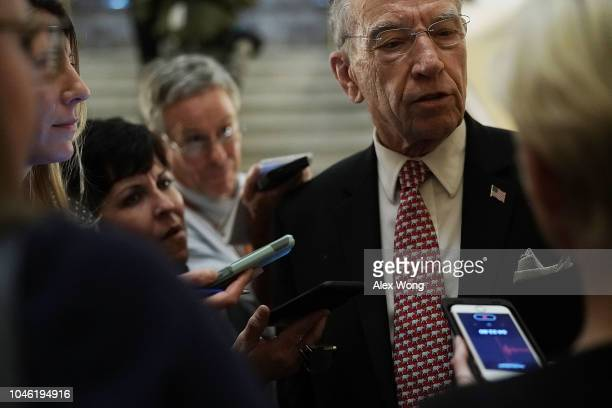 Sen. Chuck Grassley speaks to reporters after a cloture vote for the nomination of Supreme Court Judge Brett Kavanaugh to the U.S. Supreme Court, at...