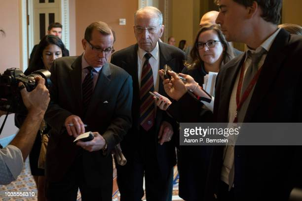 Sen Chuck Grassley speaks with reporters ahead of the weekly policy luncheons on Capitol Hill September 18 2018 in Washington DC Senate Majority...