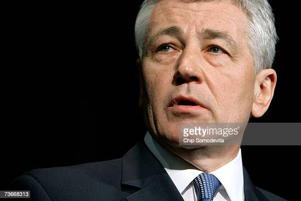 S Sen Chuck Hagel addresses the National Newspaper Association's Government Affairs Conference March 22 2007 in Washington DC US Sen John Kerry and...