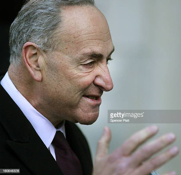 S Sen Chuck Schumer attends funeral services for former New York City Mayor Ed Koch at Manhattan's Temple EmanuEl on February 4 2013 in New York...