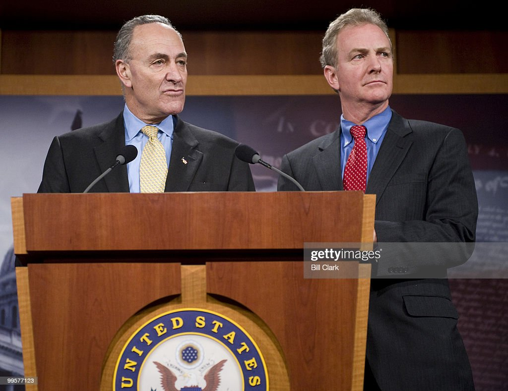 Sen. Chuck Schumer, D-N.Y., and Rep. Chris Van Hollen, D-Md., hold a news conference on Citizens United Supreme Court decision on Thursday, Jan. 21, 2010.