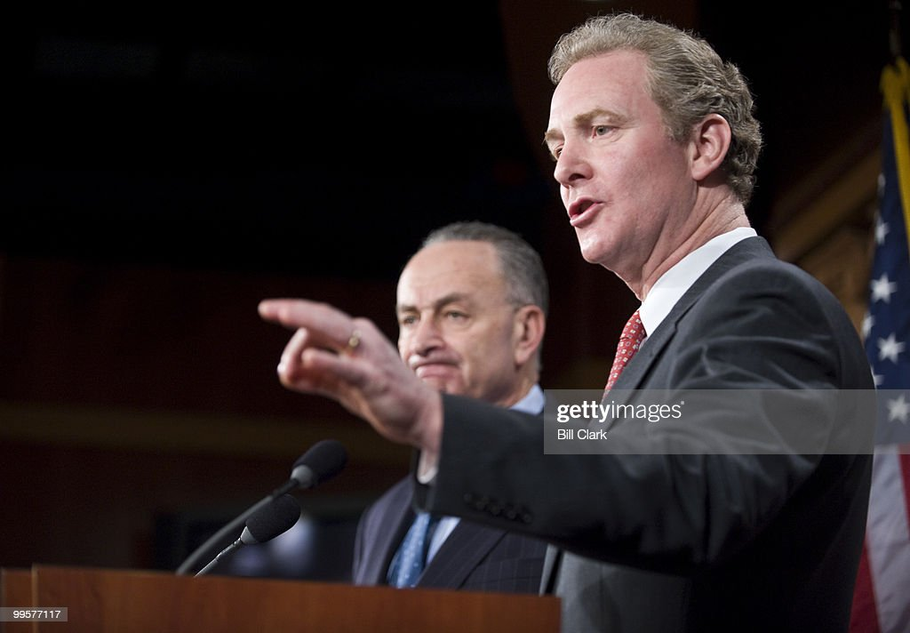 Sen. Chuck Schumer, D-N.Y., left, and Rep. Chris Van Hollen, D-Md., hold their news conference on Thursday, Feb. 11, 2010, to outline proposals to counter the Supreme Court's recent decision on corporate campain financing.