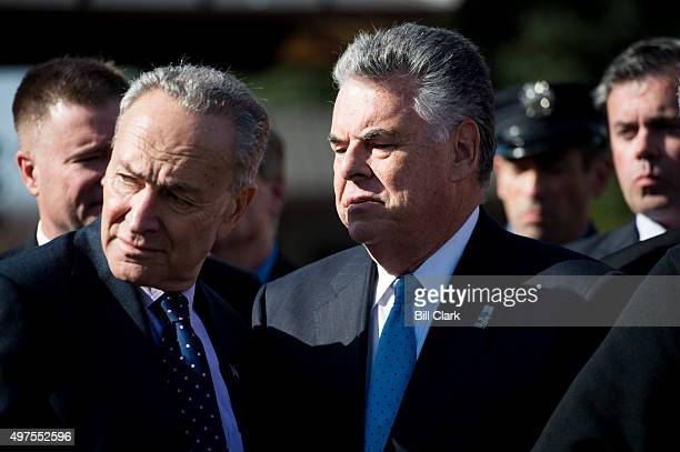 Sen Chuck Schumer DNY left and Rep Peter King RNY talk during the press conference calling on passage of the James Zadroga 9/11 Health and...