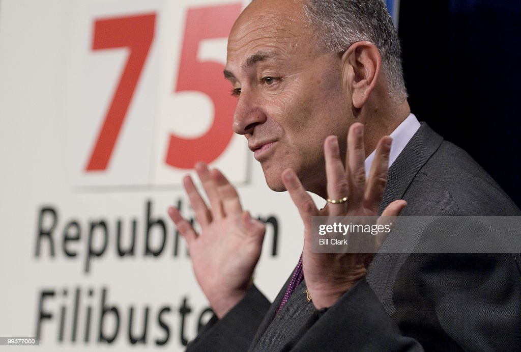Sen. Chuck Schumer, D-N.Y., participates in a news conference calling for the Senate to take action on economic issues in the Senate Radio/TV Gallery studio on Wednesday, June 11, 2008.