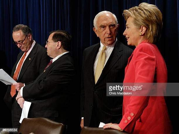 Sen Chuck Schumer DNY Rep Jerry Nadler DNY Sen Frank Lautenberg DNJ and Sen Hillary Clinton DNY at a press conference about the need for greater port...