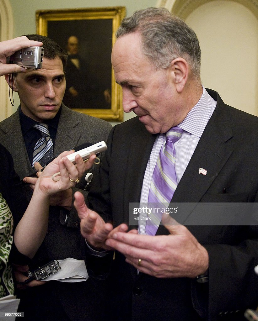 Sen. Chuck Schumer, D-N.Y., speaks with reporters in the Ohio Clock Corridor on Tuesday, Dec. 8, 2009.