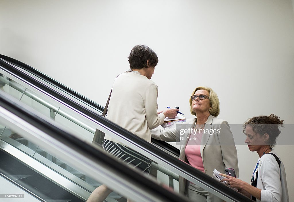 Sen. Claire McCaskill, D-Mo., speaks with reporters as she arrives in the Capitol for a vote on Tuesday, July 23, 2013.