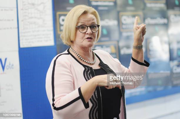 Sen Claire McCaskill gives remarks during a campaign stop at a Missouri Democratic Campaign office on October 17 2018 in Arnold Missouri McCaskill is...