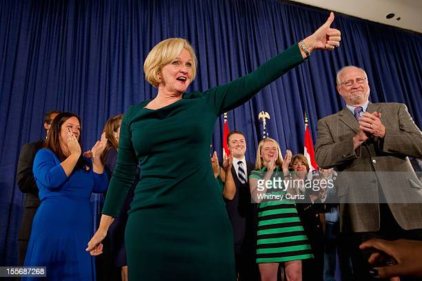 S Sen Claire McCaskill greets supporters with her husband Joseph Shepard and other family members during an election night party November 6 2012 in...
