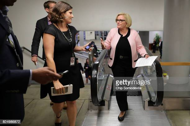 Sen Claire McCaskill is pursued by reporters as she heads to the US Capitol for a vote July 31 2017 in Washington DC Senate GOP leadership was unable...