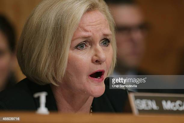 Sen Claire McCaskill questions witnesses about military equipment given to local law enforcement departments by the federal government during a...
