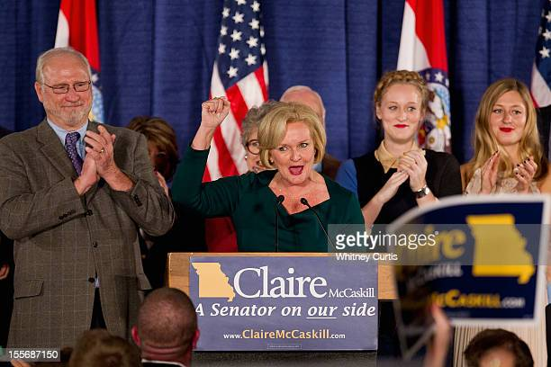 S Sen Claire McCaskill speaks to supporters as her husband Joseph Shepard and other family members look on during an election night party November 6...