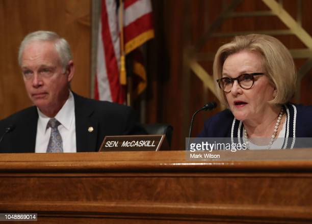 Sen Claire McCaskill speaks while flanked by Chairman Ron Johnson during a Senate Homeland Security and Governmental Affairs Committee hearing on...
