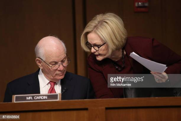 Sen Claire McCaskill speaks with Sen Ben Cardin during a markup of the Republican tax reform proposal November 14 2017 in Washington DC Today Senate...