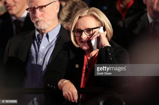 Sen Claire McCaskill talks on her phone before the town hall debate at Washington University on October 9 2016 in St Louis Missouri This is the...