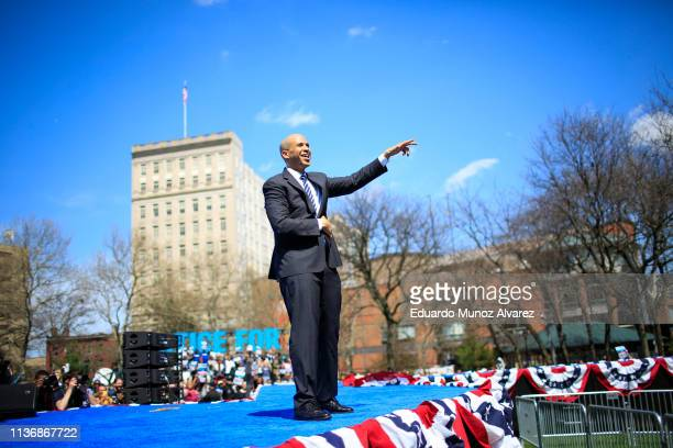 Sen. Cory Booker and 2020 presidential candidate, greets to supporters after speaking during a campaign event on April 13, 2019 in Newark, New...