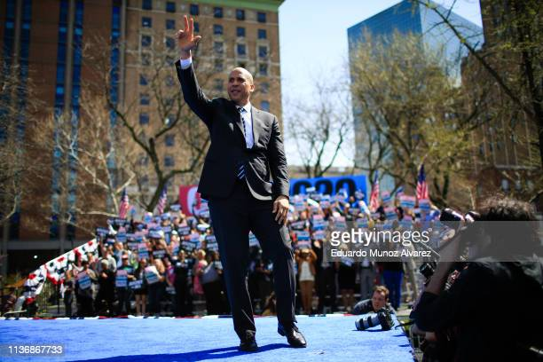 Sen Cory Booker and 2020 presidential candidate greets to supporters after speaking during a campaign event on April 13 2019 in Newark New Jersey The...